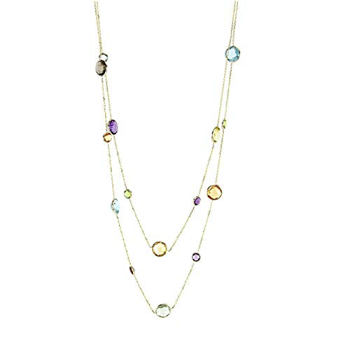 Quartz Green Necklace Smoky (14K Yellow Gold Necklace with Round Multi Color Gemstones 36 Inch)