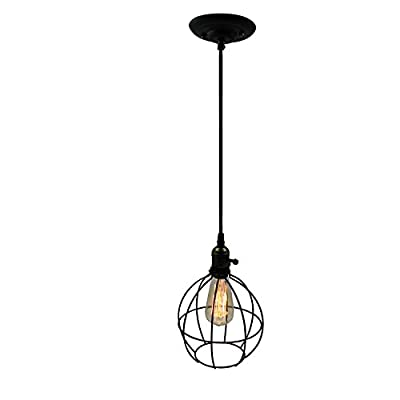 Ecopower Light Vintage Style Industrial Hanging Light Black Mini Pendant Wire Cage Lamp