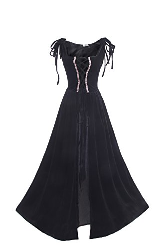 ROLECOS Womens Renaissance Irish Overdress Medieval Over Dress Pirate Costume Black S/M
