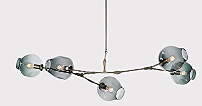 SEOL-LIGHT Nordic Style Vintage Black Branches Chandeliers 5 Heads Glass Molecules Pendant Light With 5 Light Max 300W for Living Room,Table,Hallway,Dining Room Light Fixture