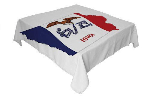Iowa Outdoor Tablecloth The Hawkeye State Map and Flag Bald Eagle Carrying Streamer Beak Cobalt Blue Vermilion and White Printed Tablecloth Rectangle Tablecloth 60 by 84 - State Iowa Kit Party