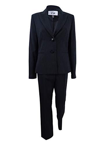 (Le Suit Women's Two-Button Pinstriped Pantsuit (8, Black Multi))