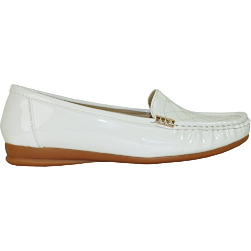 Kozi Women Comfort Shoe Th6253_bianco In Vernice Con Trapuntino Trapuntato 39m