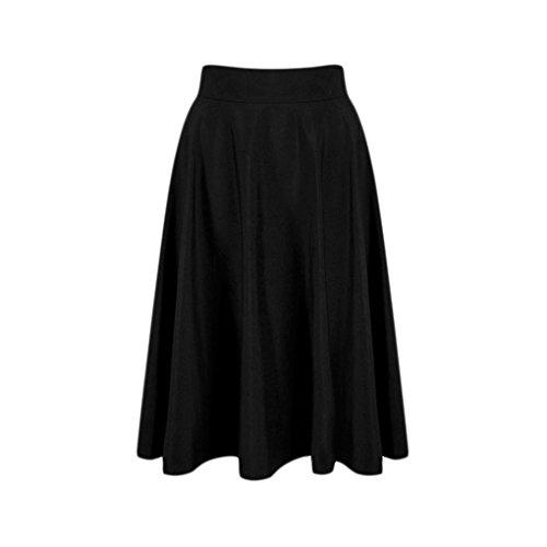 Arichtop Les Femmes ruch Jupe Fille d't Solide Taille Haute Jupes Longueur du Genou
