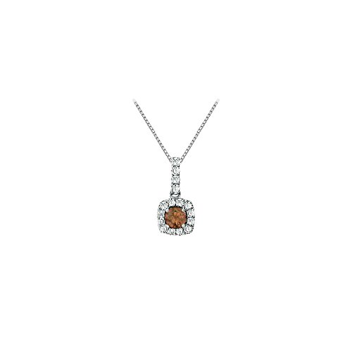 - Fancy Square Smoky Quartz and Cubic Zirconia Halo Pendant in 14K White Gold
