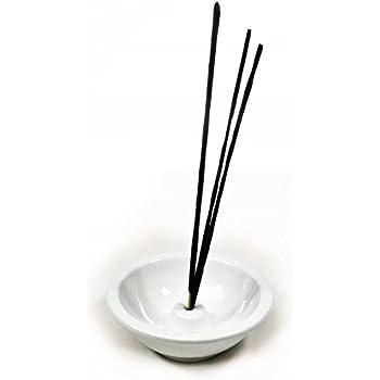 Bellaa 29806 Bowl Incense Sticks Holder Japanes Style Ceramic Pure White