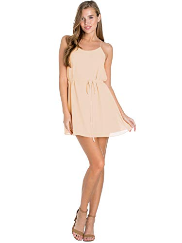 Design by Olivia Women's Spaghetti Strap Sleeveless Cami Dress W/Belt Cream M