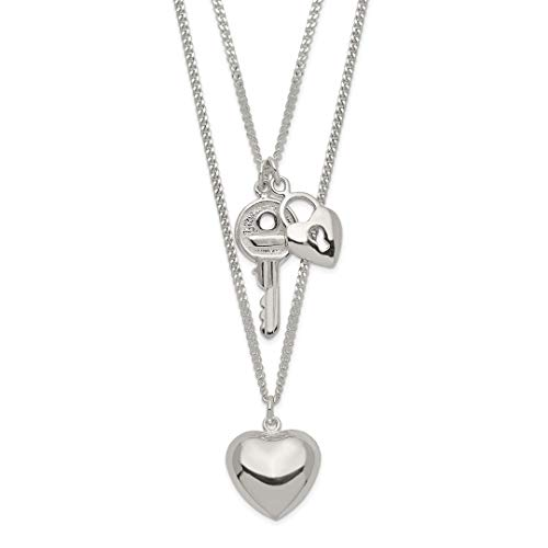 925 Sterling Silver Double Heart Key Chain Necklace Pendant Charm S/love Love Multiple With Fine Jewelry For Women Gift Set
