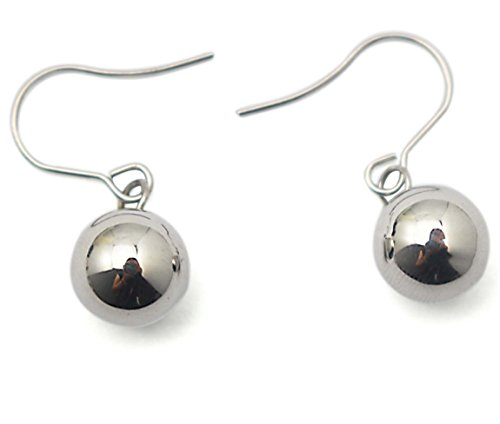 [COUYA Stainless Steel 8mm Round Ball Dangle Hook Drop Earrings for Women's Holloween Gifts] (Dia Dangle Earrings)