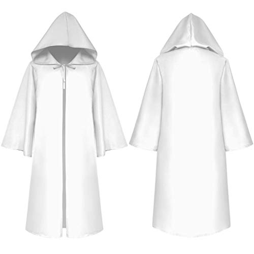 Cloak with Hood Open Front Loose Cape Shawl Poncho Coat Long Cloak Jacket Cosplay Outwear 3 Colours White Black Coffee]()