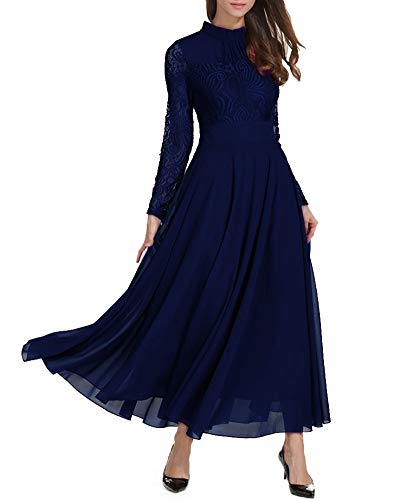 Roiii Women's Formal Floral Lace Chiffon Long Sleeve Evening Cocktail Party Maxi Dress (Large, Navy Blue)