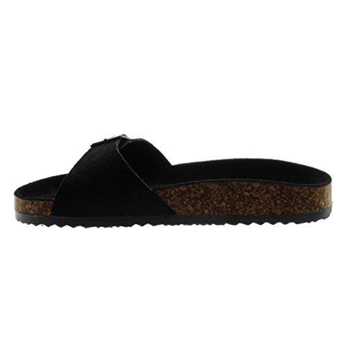 Angkorly Damen Schuhe Mule Sandalen - Slip-On - Kork - Schleife Keilabsatz High Heel 2.5 cm Schwarz