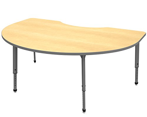 Marco Group 38-2268-61-GRY Apex Series Kidney Adjustable Table, 48