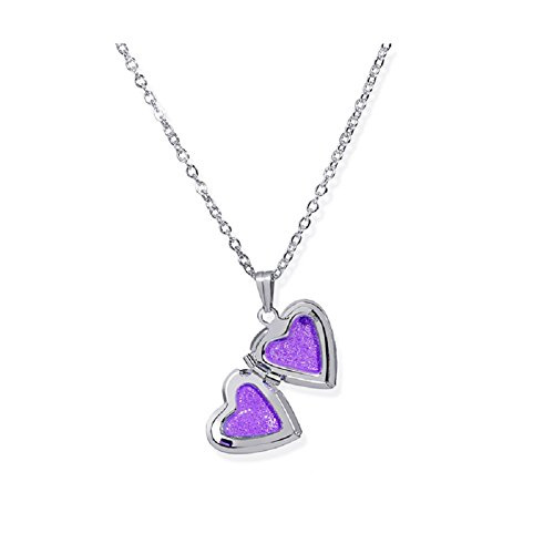Simple Heart Locket Necklaces Pendant Lockets Dog Paw Women Girl That Hold Pictures Jewelry (Small Heart Purple) -