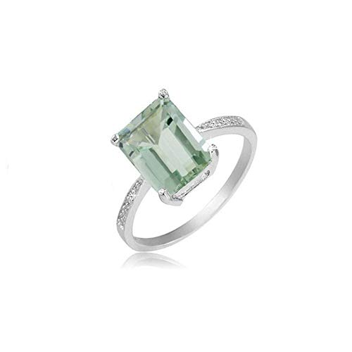 Verona Jewlers 925 Sterling Silver Emerald Cut Genuine Gemstone Ring for Women- Available in Various Styles and Sizes (7, Green ()