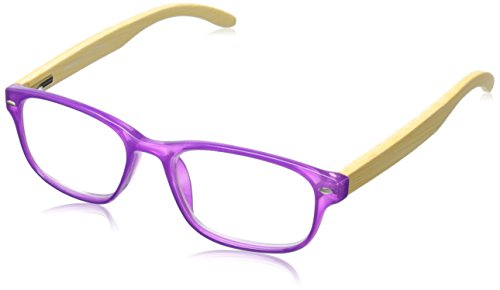 Peepers Women's Bravo Bamboo 137175 Rectangular Readers, Purple, 1.75