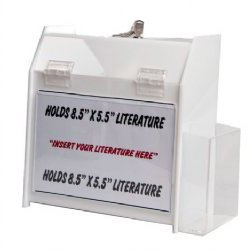 Clear-Ad - SBBLD-596-WHT - Wht Acrylic Locking Ballot Box w/ Trifold Brochure Holder 5x9x6 - Best for Donation, Voting, Charity, Ballot, Survey, Raffle, Contest, Suggestion, Comment, Tips (Pack of (Best Costume Ballot)