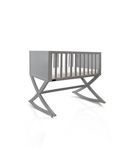 Green Frog, Allegro Cradle | Handcrafted Contemporary Wood Baby Cradle | Premium Pine Construction | Rocking and Stationary | Modern Grey