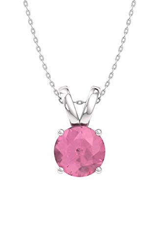 (Diamondere Natural and Certified Pink Tourmaline Solitaire Necklace in 14k White Gold | 0.40 Carat Pendant with Chain)