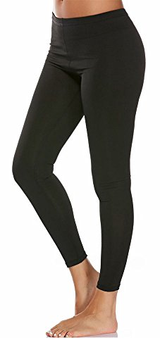 MONOLAR Opaque Solid Soft Stretch Ankle Length Jersey Legging For Women Black - Jersey Length