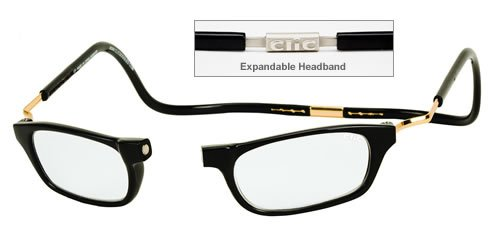 CliC Magnetic Closure Reading Glasses XXL with Adjustable Headband Black - Rest Nose Glasses