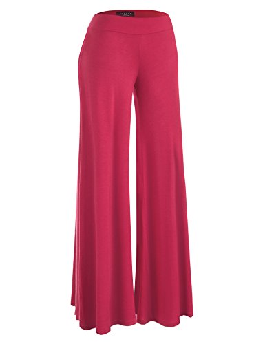 (Made By Johnny WB1104 Womens Wide Leg Palazzo Lounge Pants L Coral)