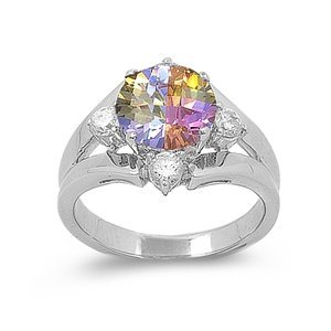 Multi Color Pink, Purple, Yellow Flower Ring (.925 Italian Sterling Silver, 7)