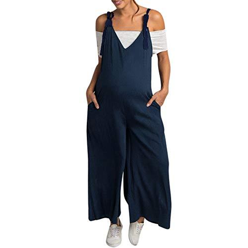 Franterd Maternity Strap Romper, Women Plus Size Pregnancy Pregnant Solid Bandage Long Camisole Jumpsuit S-5XL ()