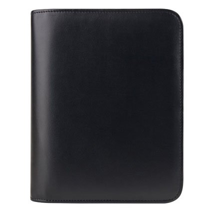 Compact Simulated Leather Open Binder - Black