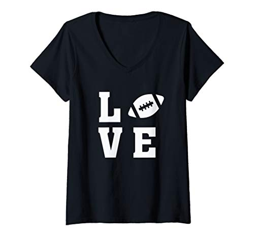 Womens I Love Football - Football Lover Ball Silhouette Image V-Neck T-Shirt