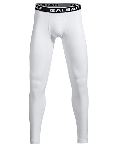 Baleaf Youth Boys' Compression Thermal Baselayer Tights Fleece Leggings White Size S