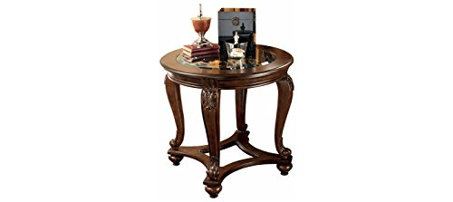 Ashley Furniture Signature Design - Norcastle End Table - Traditional Vintage Style - Round - Dark Brown - Wood Traditional Coffee Table