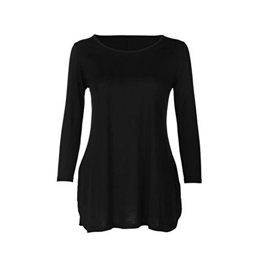 Dcontract Chemise T Manches Irrgulire Shirt Blouse Chemisier Noir Unie Femme Fentes Couleur Latrales Longues Innerternet qvwZU8q