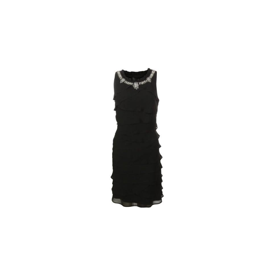 S L Fashions Womens Pearl Neck Tiered Chiffon Dress (10, Black)