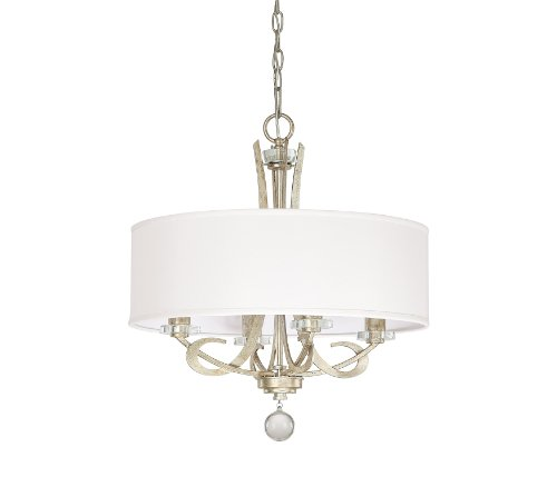 Capital Lighting 4264WG-568 Hutton 4-Light Chandelier, Winter Gold Finish with Decorative Shade