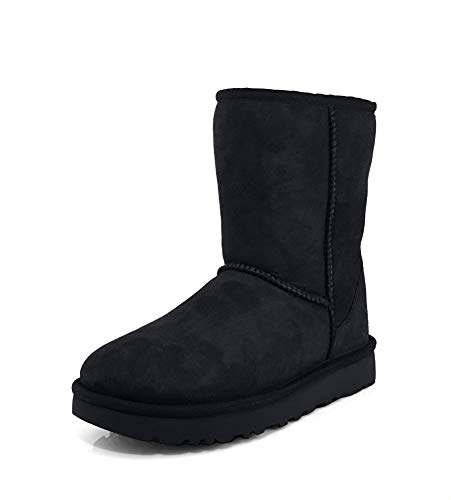 UGG Women's Classic Short II Winter Boot, Black, 9 B(M) US