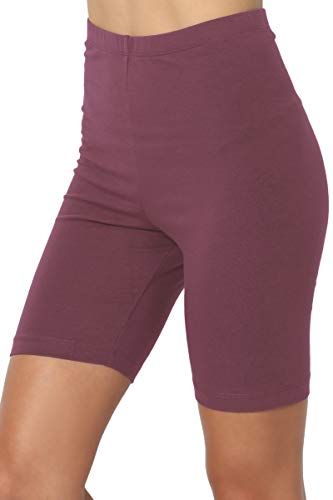 TheMogan Women's Mid Thigh Cotton High Waist Active Short Leggings Dusty Plum 1XL