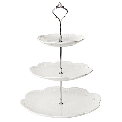 (Decorative 3 Tier White Ceramic & Metal Elegant Tea Party Serving Platter Cupcake Dessert Stand - MyGift)