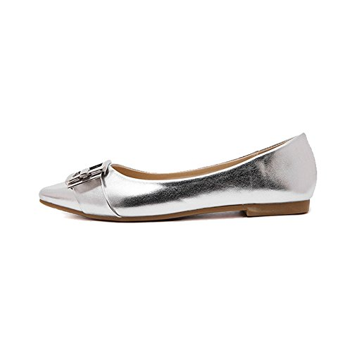 Pointed Silver Ballet Shinny Slip Ballerina Glitter on Flats Toe Womens HOdfxznqWq