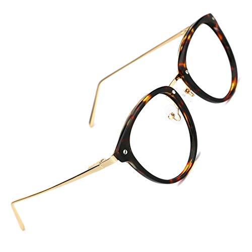TIJN Vintage Round Metal Optical Eyewear Non-prescription Eyeglasses Frame for - Shell Tortoise Glasses