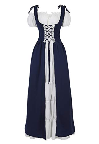 (Zhitunemi Medieval Renaissance Costumes Dress for Women Cosplay Peasant Chemise and Irish Over Dress Set Retro Gown Navy-2XL)