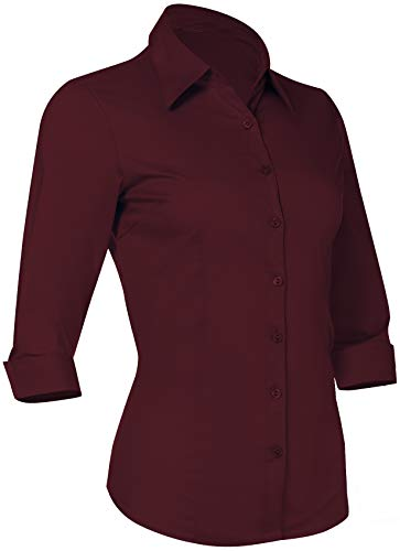 Button Down Shirts for Women 3 4 Sleeve Fitted Dress Shirt and Blouses Work Top (2XL Plus Size, New Burgundy)