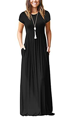 Kafadala Women's Short Sleeve Summer Maxi Dress with Pockets Casual Plain Loose Floor Length Long Dresses