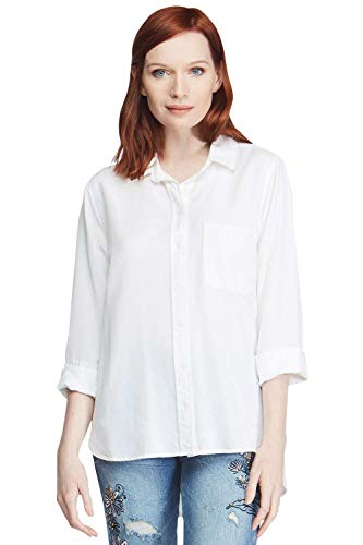 - VELVET HEART 'Blake' - 100% Tencel, Button Down Blouse, 3/4 Sleeves. Soft, Comfortable & Eco-Friendly! White