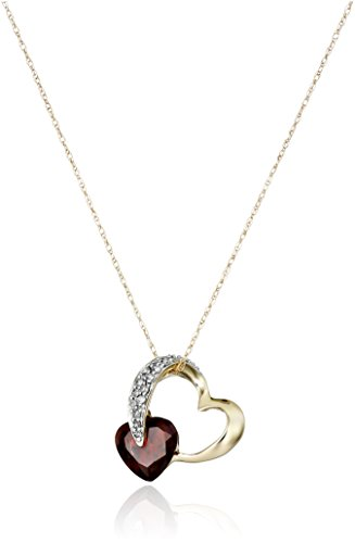 10k Yellow Gold Garnet and Diamond Heart Pendant Necklace (1/10 cttw, I-J Color, I2-I3 Clarity)