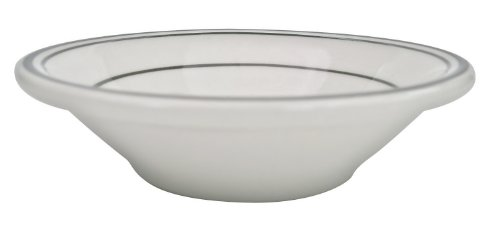CAC China GS-32 4-1/2-Inch Greenbrier 3.5-Ounce Green Band Stoneware Fruit Bowl, American White, Box of 36