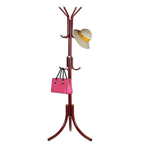 HTTH Standing Entryway Coat Rack Hat Hanger Holder 12 Hooks for Jacket Umbrella Tree Stand Metal Coat Hanger Home Decor (Wine)