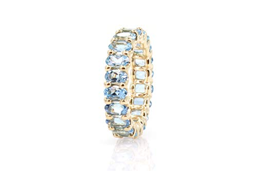 Albert Hern 4.02 ct Natural Aquamarine Eternity Ring 14kt Yellow Gold Band for Women Size 7 | Ideal for Weddings, Engagement, Bridal Set, Valentine's Day, Anniversary & Birthday Gift ()