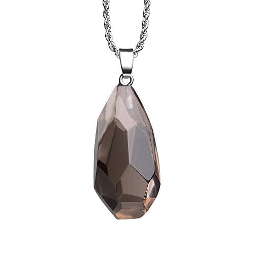 (iSTONE Natural Gemstone Smoky Quartz Faceted Irregule Water Drop Shape Healing Crystals Chakra Stones Stainless Steel Chain 24 Inch)