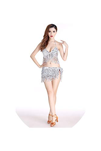 Belly Dance Latin Sequin Halter Top Bra Belt Hip Skirt Party Performance Sets,Silver,One Size]()